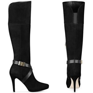 EUC {MARC FISHER} Knee High Belted Suede Boots